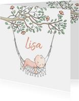 Geboortekaartje meisje in hangmat