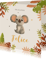 Geboortekaartje meisje jungle dier koala hartjes
