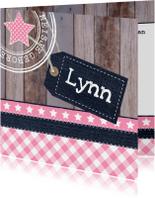 Geboortekaartje meisje label hout