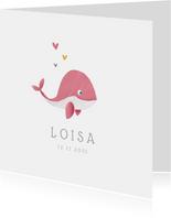 Geboortekaartje meisje lief met walvisje
