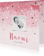 Geboortekaartje meisje lief roze waterverf hartjes