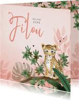Geboortekaartje meisje luipaard botanisch roze jungle