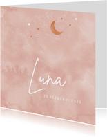 Geboortekaartje meisje maan en sterren in rosegoudlook