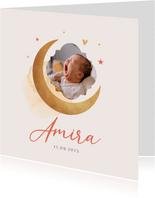 Geboortekaartje meisje maan sterren foto waterverf