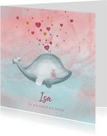 Geboortekaartje meisje met een lief dolfijntje met hartjes