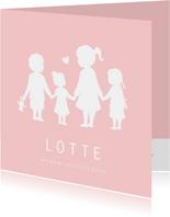 Geboortekaartje meisje met een silhouet van 4 kinderen