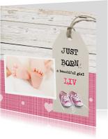 Geboortekaartje meisje met gympjes