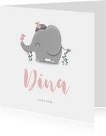 Geboortekaartje meisje met lieve olifant en vogeltjes