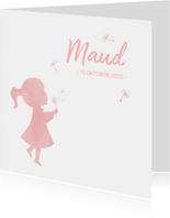 Geboortekaartje meisje met paardenbloem waterverf silhouet