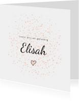 Geboortekaartje meisje met roze dots en hartje
