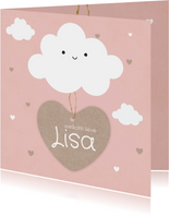 Geboortekaartje meisje met schattig wolkje en hartjes label