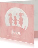 Geboortekaartje meisje met silhouet van 3 zusjes in maan