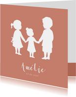 Geboortekaartje meisje met silhouet van grote broer en zus