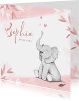 Geboortekaartje meisje olifant dieren roze illustratie