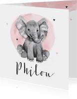 Geboortekaartje meisje olifant waterverf hartjes
