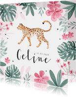 Geboortekaartje meisje panter luipaard jungle roze hartjes