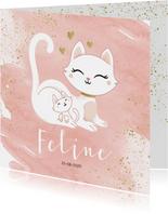 Geboortekaartje meisje poesje kat kitten waterverf