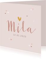 Geboortekaartje meisje roze hartjes subtiel stijlvol goud