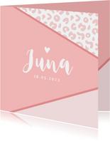 Geboortekaartje meisje roze panterprint hartje foto