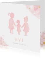 Geboortekaartje meisje - silhouet van 3 zussen in waterverf