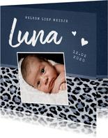 Geboortekaartje meisje stoer met luipaard print en foto