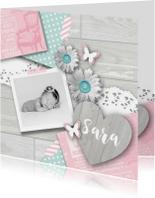 Geboortekaartje foto hart bloemen meisje