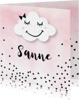 Geboortekaartjes - Geboortekaartje meisje wolk hartjes