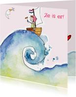 Geboortekaartjes - Geboortekaartje meisje zee golf