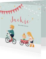 Geboortekaartje meisje zusje feest fiets karretje