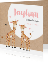Geboortekaartje meisje zusje giraf kraft hartjes