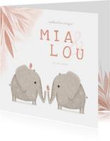 Geboortekaartje meisjes tweeling met olifantjes en vogels