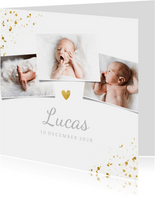 Geboortekaartje met 3 foto's en goudaccenten