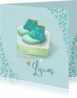Geboortekaartje met babyschoentjes