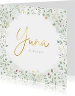 Geboortekaartje met blaadjes en bloemetjes