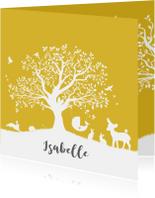 Geboortekaartje met boom, wiegje en dieren