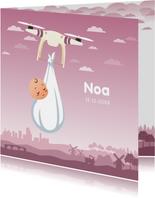 Geboortekaartjes - Geboortekaartje met drone en baby