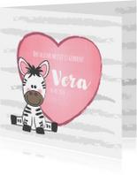 Geboortekaartje met een hartje en een zebra