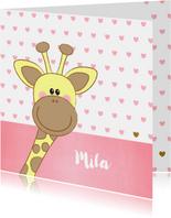 Geboortekaartje met een lief girafje en roze hartjes