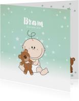 Geboortekaartjes - Geboortekaartje met een schattige baby met knuffelbeer