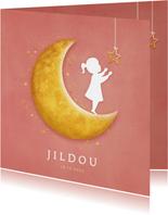 Geboortekaartje met een silhouet van een meisje op de maan