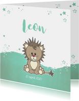 Geboortekaartje met een stoere lieve leeuw met sterren