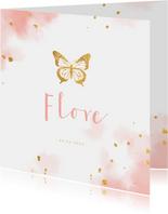 Geboortekaartje met gouden vlinder en waterverf
