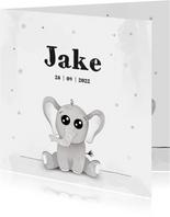 Geboortekaartje met illustratie van een baby olifant