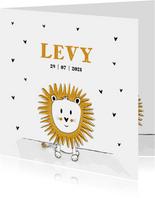 Geboortekaartje met illustratie van een leeuwtje