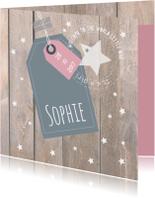 Geboortekaartje met label Sophie