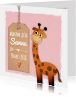 Geboortekaartje met lieve giraf
