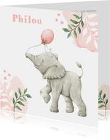 Geboortekaartje met lieve illustratie olifantje in aquarel
