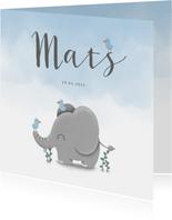 Geboortekaartje met lieve olifant, vogeltjes en waterverf