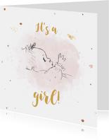 Geboortekaartje met lijntekening baby op roze watervlek