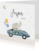 Geboortekaartje met olifant in feestelijke retro trapauto